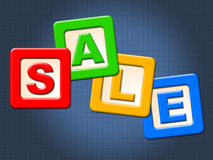 Sale Blocks Shows Youngster Post And Reduction Royalty Free Stock Images