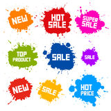 Sale Blots - Splashes Labels. Business Colorful Vector Icons - Sale Blots - Splashes Labels Royalty Free Stock Photos