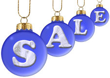 Sale on blue new year's ball Royalty Free Stock Photos