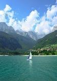 Sale boat at Molveno lake in Dolomites, Italy Stock Photo