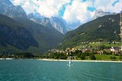 Sale boat at Molveno lake in Dolomites, Italy Stock Image