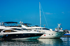 Sale boats in Commercial Sea Port of Sochi Royalty Free Stock Images