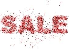 Sale - bokstäver från ordförsäljning i rött blänker från olika former Arkivfoton