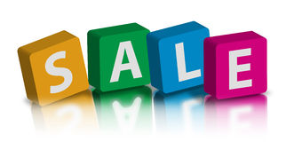Sale logo on colorful cubes. An illustration of the word 'sale' written on colorful cubes stock illustration