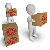 Sale Boxes Show Reduced Price And On Special Stock Image