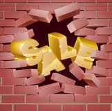 Sale Breaking Down Wall Stock Image