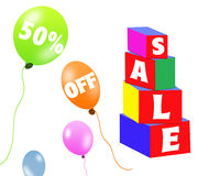 Sale brick and balloons Stock Images