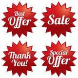 Sale bästa erbjudande, specialt erbjudande, tacka dig etiketter Arkivfoto
