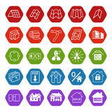 Sale buildings materials (roof, facade) site icons set Royalty Free Stock Photo