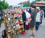 Sale of Bulgarian folk souvenirs at the Nestinar Games in the village of Bulgarians Stock Images