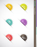 Sale Burst Labels or Icons. Collection of colored burst icons or labels for sales and marketing Stock Image