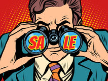 Sale Businessman looking through binoculars. Pop art retro vector illustration Stock Images