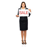 Sale. Businesswoman holding sale sign. Isolated on a white background Royalty Free Stock Photos