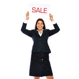 Sale. Businesswoman holding sale sign. Isolated on a white background Stock Photo