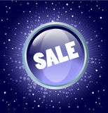 Sale button on the blue background Royalty Free Stock Images
