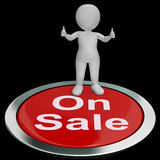 On Sale Button Means Reduced Price And Products Stock Images