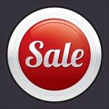 Sale button. Vector red round sticker. Stock Image