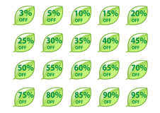 Sale buttons in form of green leaves Stock Photography