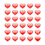 Sale buttons heart shaped Stock Photo