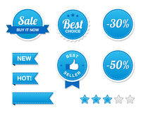Sale Buttons Set - retro. Set of blue Retro Sale Shopping Buttons isolated on white background. EPS available Royalty Free Stock Photography