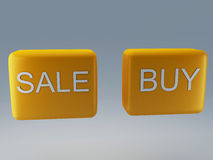 Sale and buy button. 3d Illustration Stock Photos