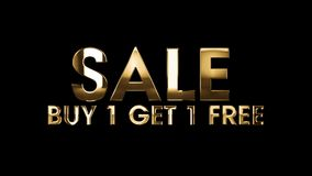 SALE buy 1 get 1 free - text animation stock illustration