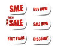 Sale buy now cut off sticker label Stock Photography