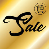 Sale. Calligraphy inscription and shopping basket icon design. Golden  discount template. Shopping basket banner. Vector Luxury. Advertising background. Black Stock Image