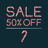 Sale 50 in Candy Cane style Stock Photography
