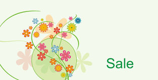 Sale card. With floral elements and flowers Stock Photos