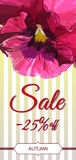 Autumn sale card.Colorful pansy flowers on the yelow striped background. Stock Image