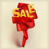 Sale card concept with red satin ribbon. Vector eps 10 stock illustration