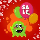 Sale card with cute monster. Promotion balloon shopping discount banner Royalty Free Stock Image