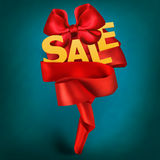 Sale card with red ribbon and elegant bow Stock Image