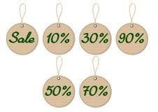 Sale cardboard tags. Set of sale cardboard texture tags Stock Image