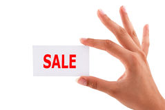 Sale cards in hand Royalty Free Stock Photography