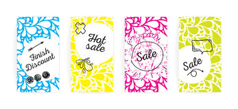 Sale cards or labels set. Hand drawn doodles and drops. Royalty Free Stock Photos