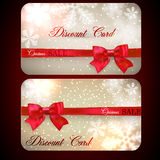 Sale cards with red gift bows. Stock Image