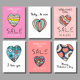 Sale cards set with discount offer for Happy Valentine`s Day celebration Royalty Free Stock Photo