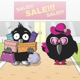 Sale. Carl and Clara go with the sale. Vector format