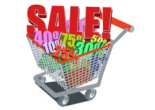 Sale cart. Shopping cart loaded with percentage Royalty Free Stock Photography
