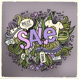 Sale cartoon hand lettering and doodles elements Royalty Free Stock Image