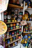 Sale of ceramic souvenirs. Each product - UNIQUE! Handmade, painting -the second same can not find stock image