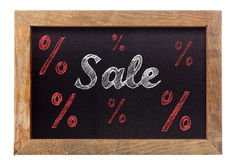 Sale chalk writing with percentage signs on chalkboard Stock Image