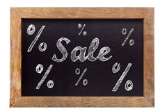 Sale chalk writing with percentage signs on chalkboard Stock Photos