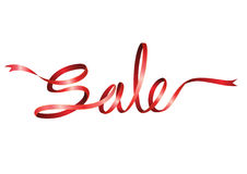 Sale characters in red ribbon style. Stylish sale characters made from red ribbon Royalty Free Stock Photos
