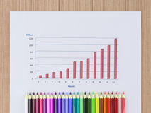 Sale Chart with colorful pencils. Sale Chart on white paper  with colorful pencils Stock Photo