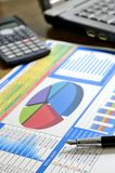 Business report. Analysing business report - laptop, calculator and pen Stock Photo