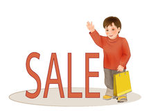 Sale of children's clothing. Royalty Free Stock Images