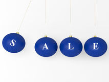 Sale Christmas Blue Balls. Isolated On White Stock Image